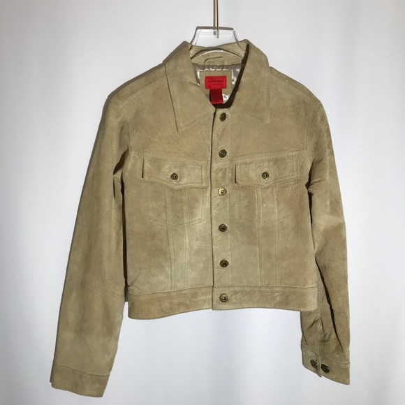 Jane Doe Jackets & Blazers - Jane Doe Suede Leather Retro Beige Tan Jacket